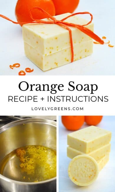 Make your own fragrant orange soap with a special orange essential oil and tiny flecks of orange zest. Includes the full recipe and cold-process soap making instructions #soaprecipe #coldprocess #soapmaking #orangerecipe