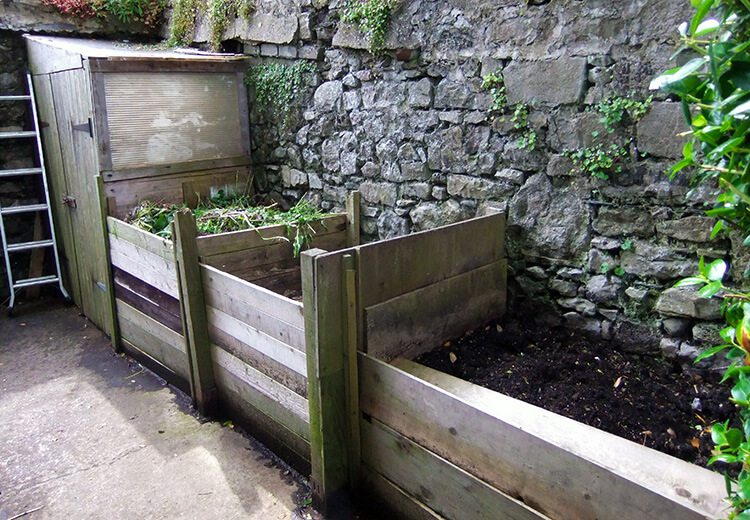 Wooden compost bins - The Port St Mary Allotment and the Hidden Gardens of Castletown