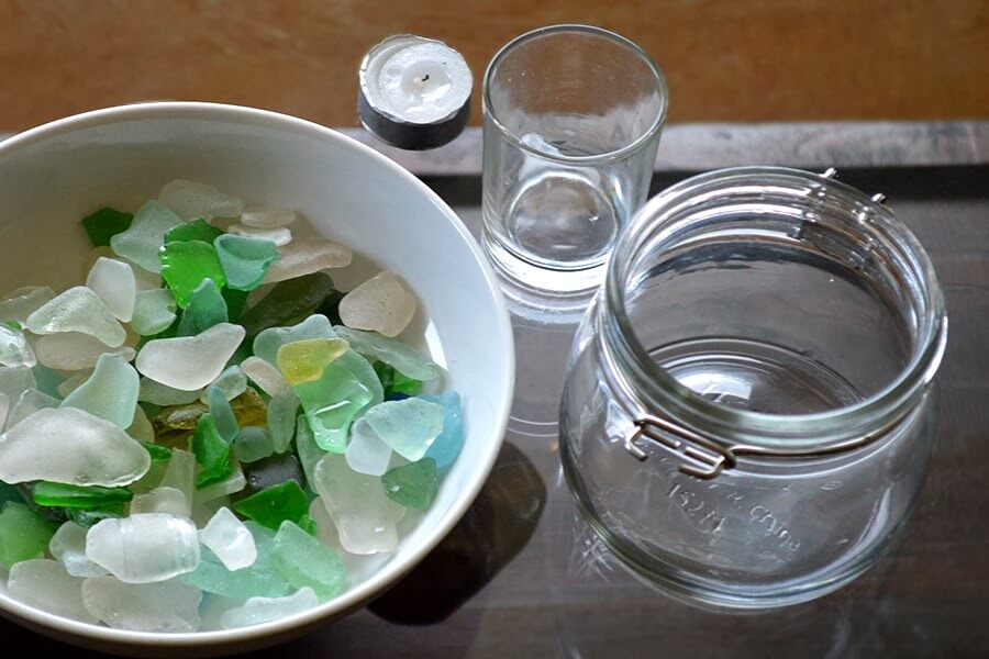 Use beach glass to make a simple yet beautiful candle votive - no glue or tools required! #candle