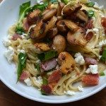 Recipe for Wild Garlic Noodles with Bacon, Mushrooms, and Cheese