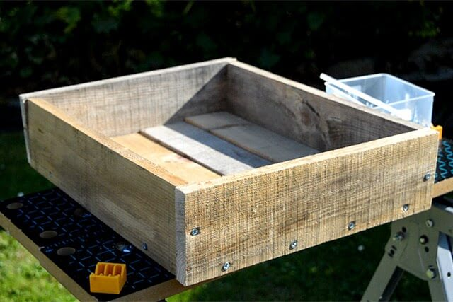 Pallet project diy trugs wood planters lovely greens for How to make a flower box out of pallets