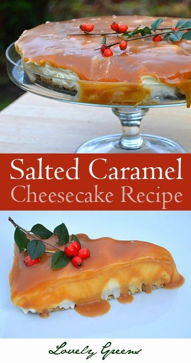 Salted Caramel Cheesecake Recipe from Lovely Greens - rich, creamy, and sinfully delicious! #dessertrecipe