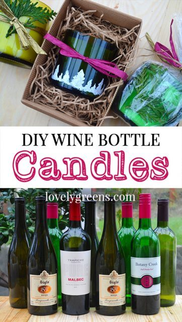 How to recycle wine bottles into handmade candles. Instructions on both cutting the bottles and how to fill them.