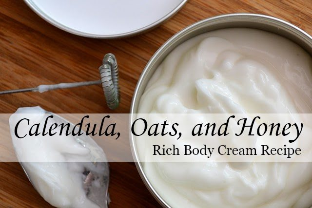 Recipe for handmade Calendula, Oats, & Honey Body Cream - rich, creamy, and nourishing for your skin #beauty