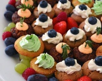 Mini Cupcake Party Platter + recipe for Gluten-free Mojito cupcakes from Lovely Greens #partyfood