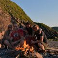 Summer beach bbq on a rocky beach just north of Peel #isleofman