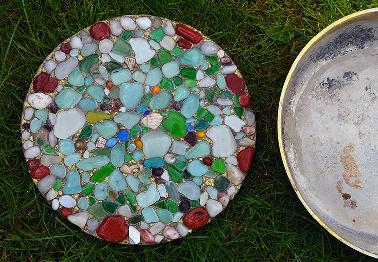 DIY Sea Glass Stepping Stone