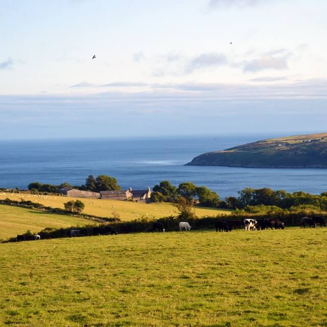 Farms overlooking Laxey Bay and Clay Head on the Isle of Man