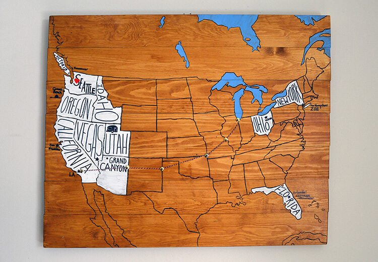 make this personalized travel map using wooden planks pallet wood and design