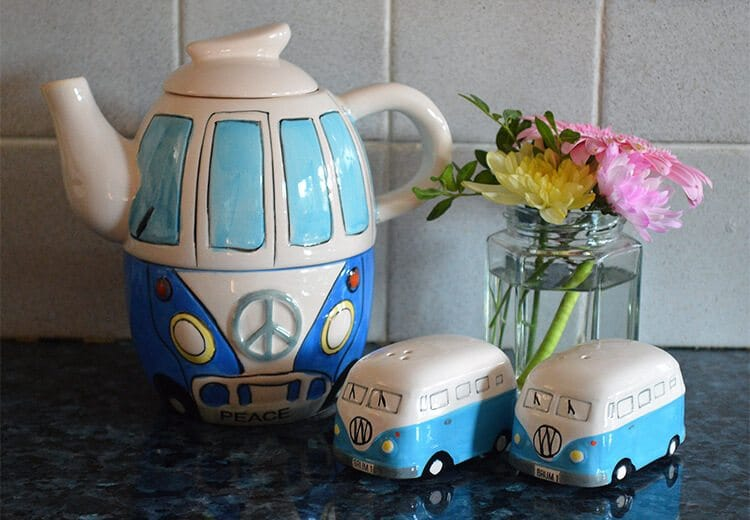 VW Camper Van salt and pepper chakers and teapot