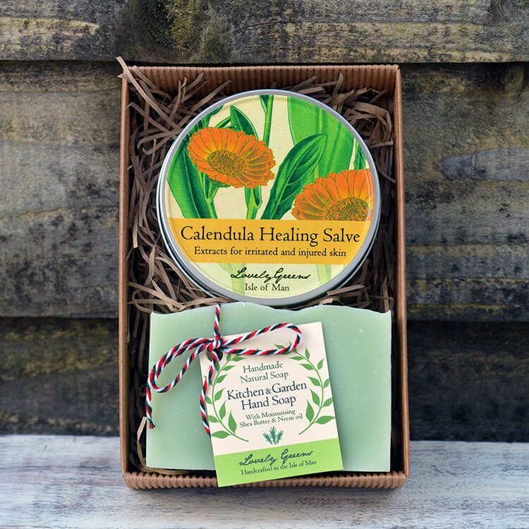 A Lovely Greens Christmas - handmade bath and beauty products from the Isle of Man. Pictured: Kitchen & Garden Skincare set