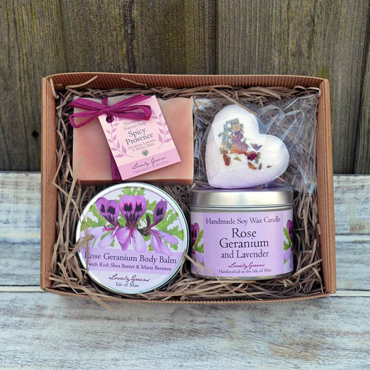 A Lovely Greens Christmas - handmade bath and beauty products from the Isle of Man. Pictured: Rose Geranium & Lavender Beauty and Candle set