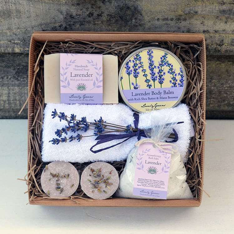 A Lovely Greens Christmas - handmade bath and beauty products from the Isle of Man. Pictured: Natural Lavender Bath & Beauty set