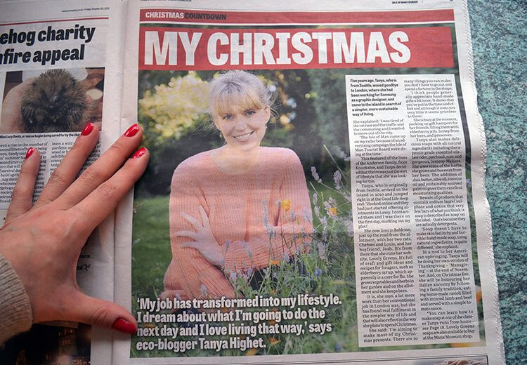 A Lovely Greens Christmas - handmade bath and beauty products from the Isle of Man. Pictured: Tanya from Lovely Greens in the Courier newspaper