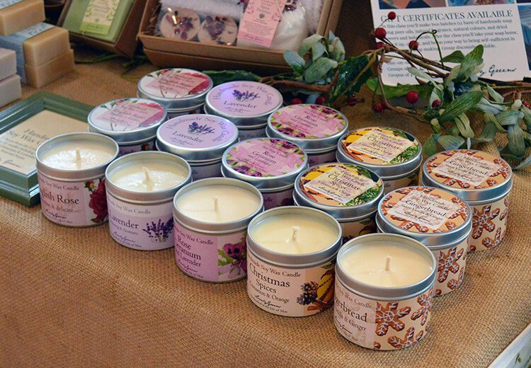 A Lovely Greens Christmas - handmade bath and beauty products from the Isle of Man. Pictured: handmade soy wax candles