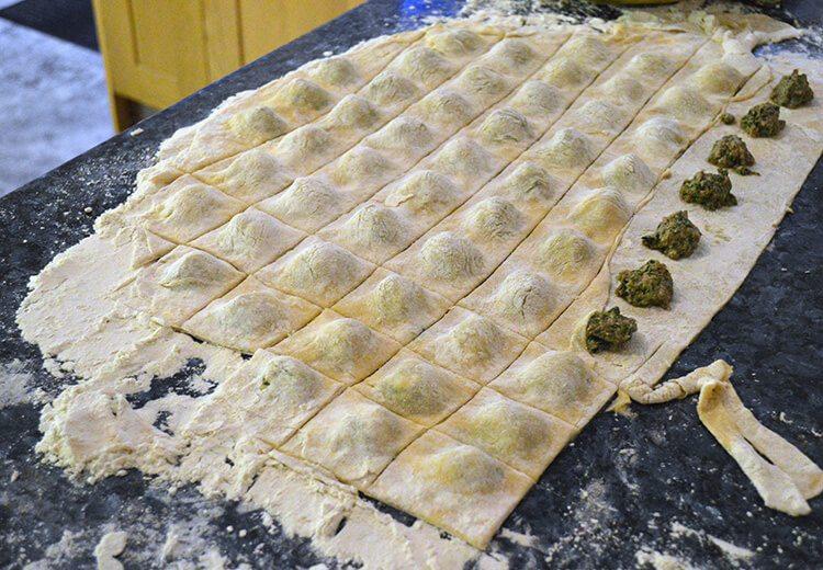 Handmade beef & spinach ravioli