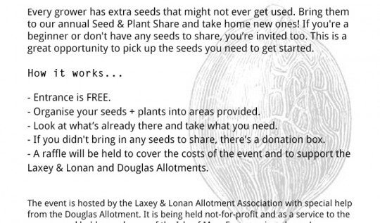Seed and Plant Share + Gardeners Social. Sunday, March 13th 2016, Laxey Sailing Club