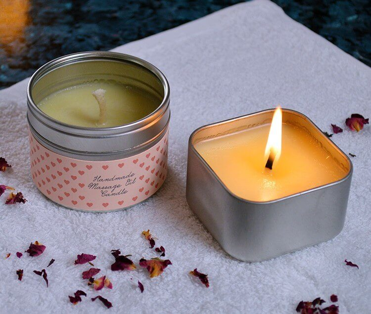 How to make massage oil candles. The liquid oil in these candles is warm (not hot) and can be used as a fragrant and moisturizing massage oil. Great as gifts for valentines day, anniversaries, wedding favors, or anytime you need a little extra romance in your life