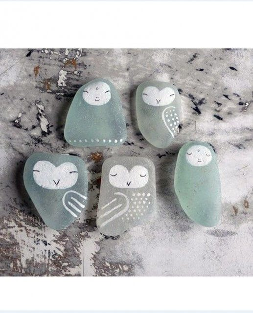 Sea Glass painted as Birds