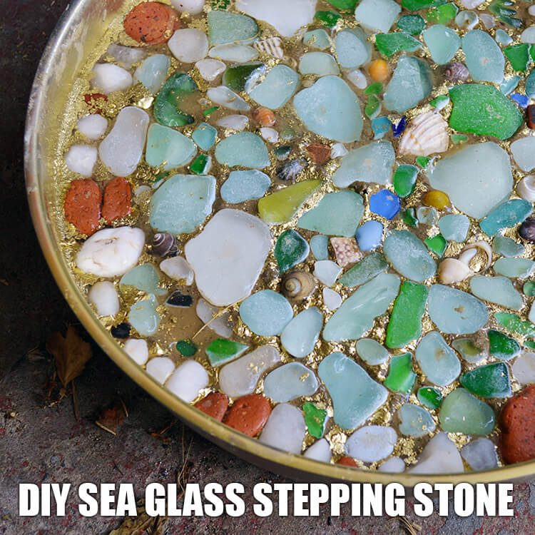 Recycled DIY Projects for the Garden: Sea Glass Stepping Stone