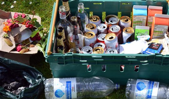 Two people's waste from a weekend's music festival: People create a lot of waste while having fun in the sun. Here's ours.