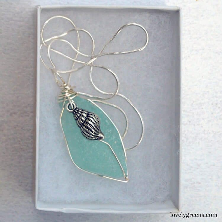 My friend Eve Kelly makes these beautiful sea glass pendants from glass she's collected from the Isle of Man.