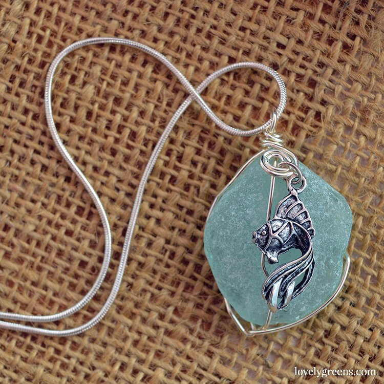 Sea glass pendant from the Isle of Man. Made by Eve Kelly.