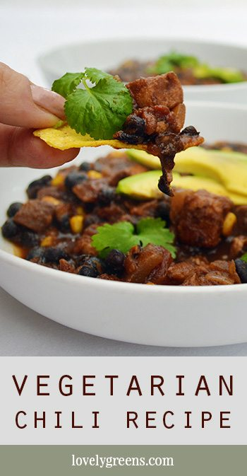 Vegetarian Chili with Black Beans & Avocado