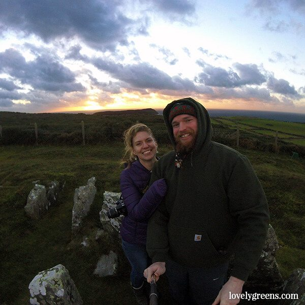 Winter Solstice on the Isle of Man: watching the sun set on the darkest day of the year from the Meayll Hill Stone Circle #wintersolstice #isleofman #lovelygreens