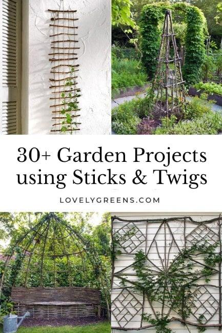 Creative garden features you can DIY for free using twigs, sticks, and branches. Ideas include trellises, plant supports, and garden artwork #gardendiy #gardenidea #garden