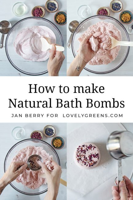 How to make bath bombs with natural ingredients such as flower petals and essential oils. Includes recipes for oatmeal rose bath bombs and pink grapefruit bath bombs #diybeauty #makebathbombs