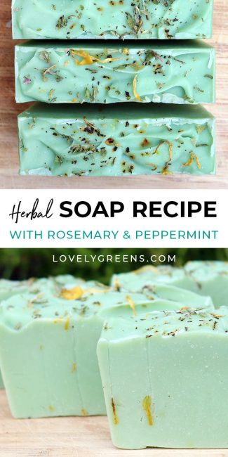 Learn to make herbal soap with rosemary and peppermint essential oils and dried herbs and flowers. Part of the Simple Soap Recipe series #lovelygreens #soaprecipe #soapmaking