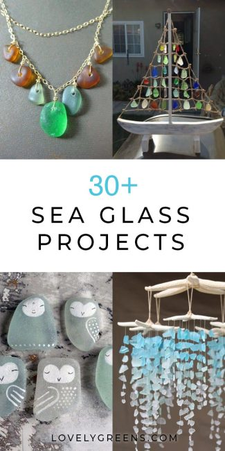 Thirty sea glass ideas and DIY projects including jewelry, stepping stones, & artwork. Use pretty glass from the beach to make crafts for the home & garden #seaglass #craftidea #glassart