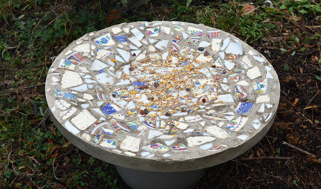 Crafty mosaic bird table DIY