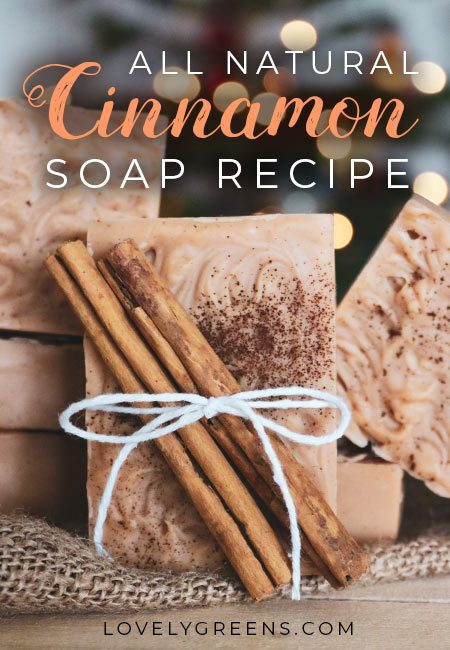 How to make natural cinnamon soap with pure essential oils, cocoa butter, clay for natural color, a simple swirl decoration, and a dash of cinnamon spice for decoration #soaprecipe #naturalsoap #soapmaking