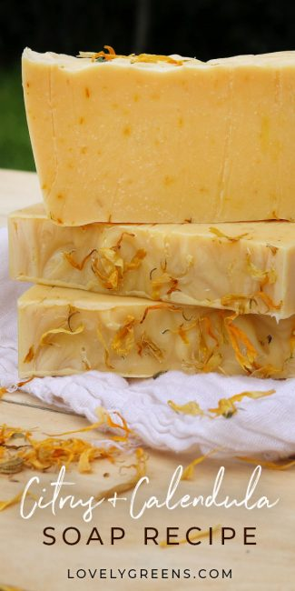 Zesty Citrus & Calendula Soap Recipe: a simple cold-process calendula soap recipe with dried flower petals and citrus essential oils. Includes full DIY instructions #lovelygreens #soaprecipe #soapmaking