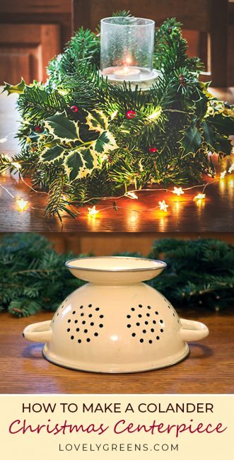 how to make christmas greenery centerpieces with a colander