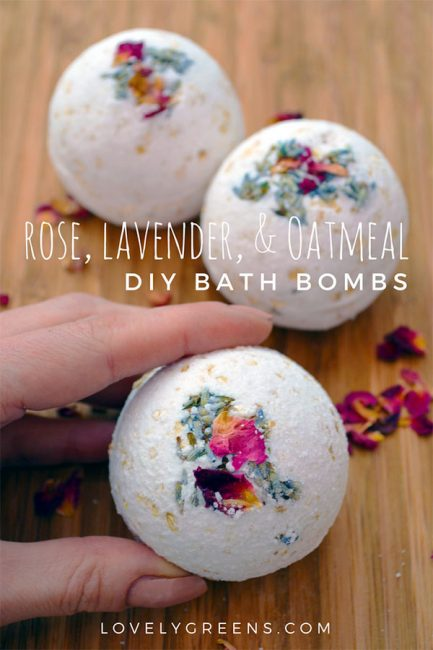 Learn how to make handmade bath bombs with a secret cache of rose petals and lavender. They emerge as the bath bomb dissolves in warm water #diybath #diybeauty #essentialoils #roses