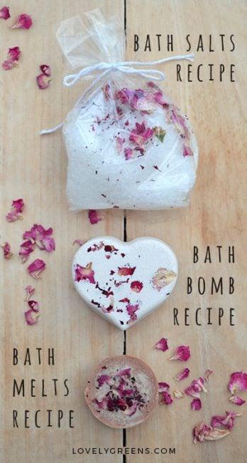 DIY Gift Idea: Make Rose & Geranium Aromatherapy Gift Sets for under $8. Includes bath salts, a bath bomb, and creamy bath melts #lovelygreens #diybeauty
