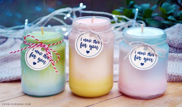 How to make handmade ombre candles -- as the gradient changes, so does the fragrance #ombre #candlemaking #lovelygreens
