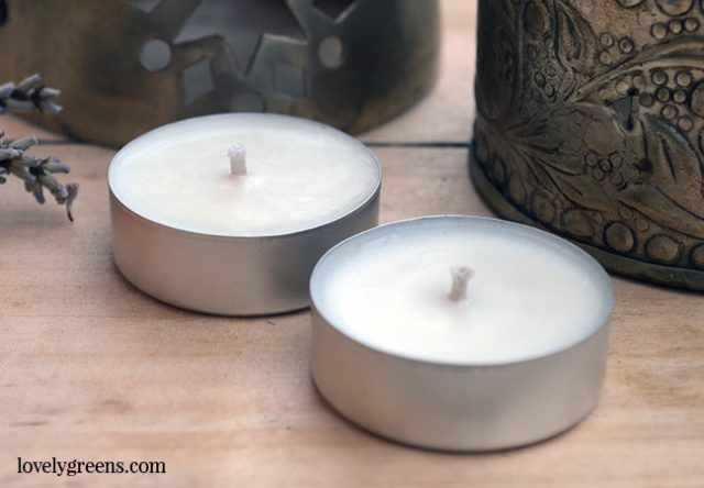 How to make Essential Oil Tea Lights -- great for camping and outdoor events