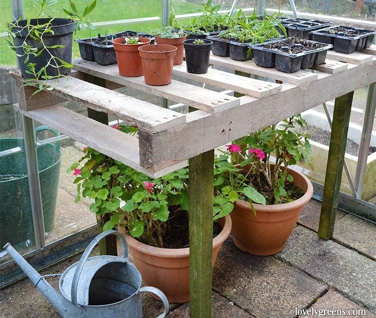 DIY Pallet Wood Potting Bench • Lovely Greens
