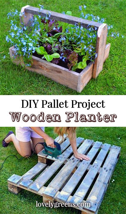Garden project: use pallets to create simple wood planters with handles. Instructions on how to line them and plant them with leafy green edibles and flowers #pallet #diygarden #planteridea