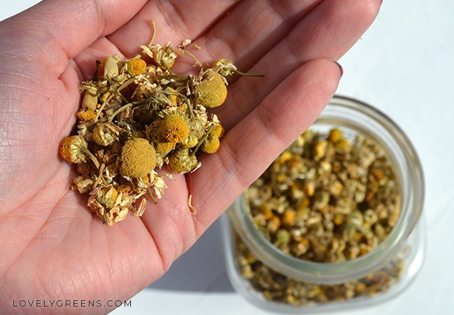 Use dried chamomile flowers to decorate your soap