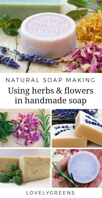 A guide to using herbs and flowers in soap recipes. Tips on which herbs and flowers are best & using fresh and dried plant material in soap