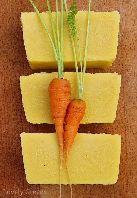 Natural carrot soap recipe using homemade carrot puree. This recipe creates mild bars that are tinted a natural buttery yellow #soapmaking #carrotrecipe #soaprecipe