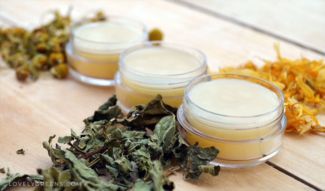 How to make Herbal Lip Balm using dried herbs and rich oils #herbs #beautydiy #lipbalmrecipe #peppermint #chamomile #calendula #beautyrecipe