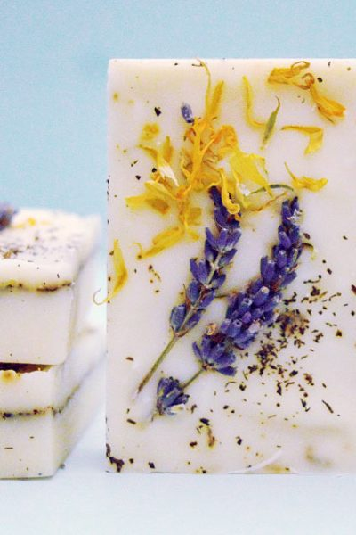 Herb Garden Soap Recipe with lavender, peppermint, & calendula