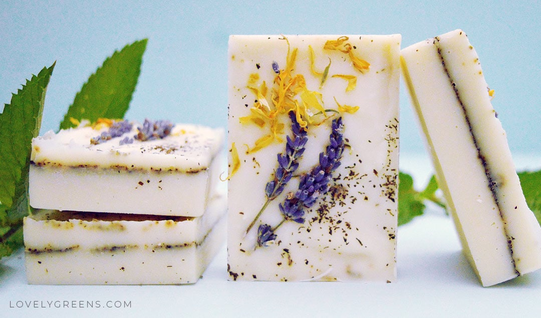 Herb Garden Soap Recipe with lavender, peppermint, & calendula