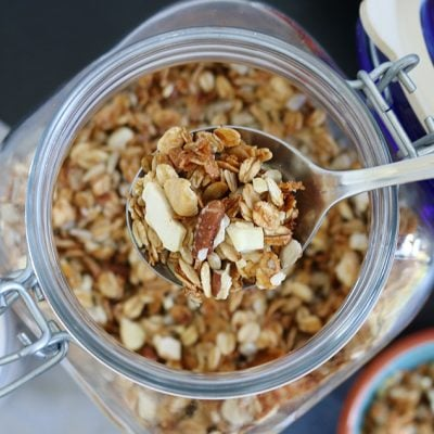 Mara's surprisingly easy to make crunchy granola recipe with rolled oats, honey, coconut, and nuts. Make it from start to finish in about 45 minutes #granolarecipe #breakfastrecipe #soyallergy